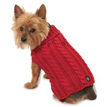 Marley's Cable Dog Sweater - Red