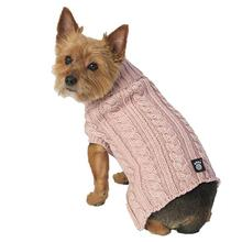 Marley's Cable Dog Sweater - Rose