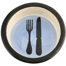 Melia Knife and Fork Ceramic Pet Bowl - Blue Bottom