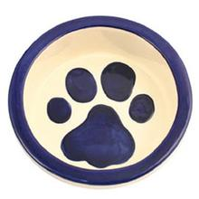 Melia Paw Ceramic Pet Bowl - Moody Dark Blue