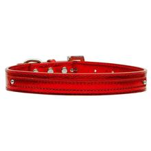 Metallic Two Tiered Dog Collar with 10MM Letter Strap - Red