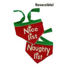 Naughty List/ Nice List Reversible Dog Bandana Scarf