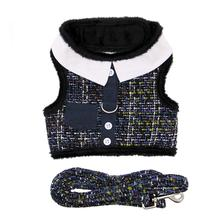 Navy Blue Tweed Pocket Minky Plush Dog Harness and Leash