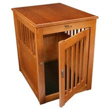 Oak End Table Dog Crate - Burnished Oak