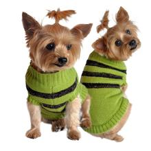 Olive Green and Brown Stripe Dog Sweater