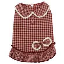 Parisian Gingham Dog Dress - Red