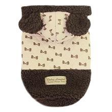 Parisian Pet Bowtie Dog Hoodie - Khaki