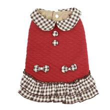 Parisian Pet Quilted Plaid Dog Dress - Red