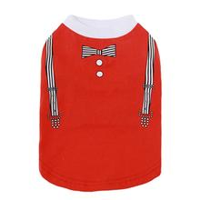 Parisian Pet Suspenders Dog Shirt - Red