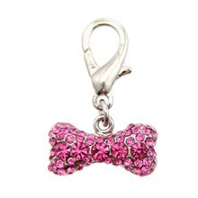 Pave Bone D-Ring Pet Collar Charm by FouFou Dog - Pink