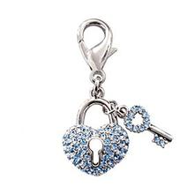 Pave Key to Heart D-Ring Pet Collar Charm by FouFou Dog - Blue