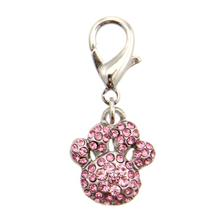 Pave Paw D-Ring Pet Collar Charm by FouFou Dog - Pink