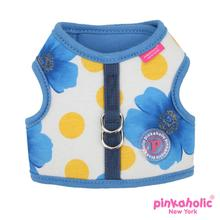Peonies Dog Harness by Pinkaholic - Blue