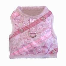 Pink Brocade Minky Plush Dog Harness with Leash