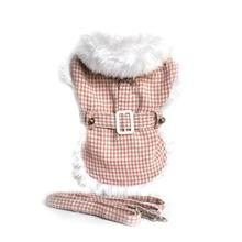Pink Houndstooth Fur-Trimmed Dog Harness Coat