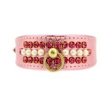 Pink Passion Crystal and Pearl Dog Collar - Shiny Pink