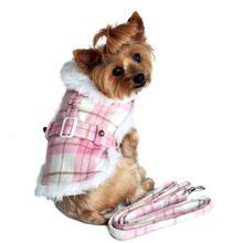 Pink and White Plaid Dog Coat with Leash