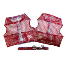 Plaid Cool Mesh Dog Harness by Doggie Design - Red
