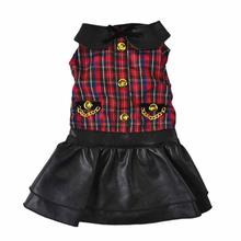 Plaid Leatherette Dog Dress by Dogs of Glamour
