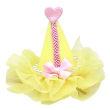 Pretty Party Hat Dog Bow - Yellow