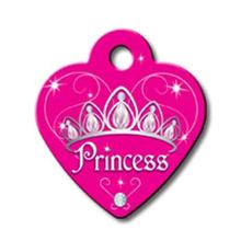 Princess Heart Small Engraveable Pet I.D. Tag