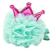 Princess Puff Dog Bow - Aqua