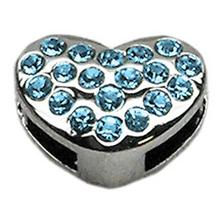 Puffy Heart Slider Dog Collar Charm - Turquoise