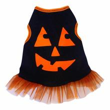 Pumpkin Face Tank Dog Dress - Black