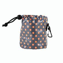Push Pushi Dog Treat Bag - Polka Dot Orange on Gray