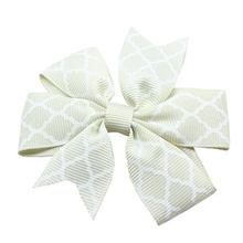 Quatrefoil Dog Bow - Cream