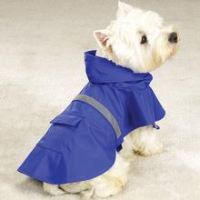 Dog Rain Jacket with Reflective Strip - Blue