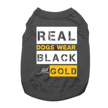 Real Dogs Wear Black and Gold Dog Shirt