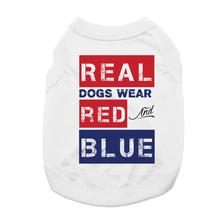 Real Dogs Wear Red and Blue Dog Shirt