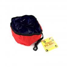Red Folding Nylon Travel Pet Bowl