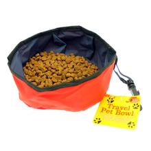 Red Folding Nylon Travel Pet Bowl