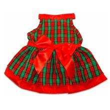 Red Green Plaid with Satin Ribbon Trim Dog Dress