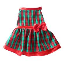 Red Plaid Satin Trim Holiday Dog Dress