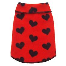 Red with Black Hearts Dog Pullover