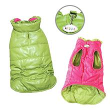 Reversible Parka Dog Vest with Ruffle Trim by Klippo - Lime and Pink