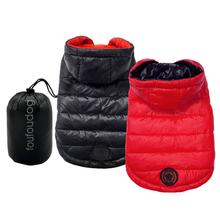 Reversible Puffer Dog Coat with Travel Pouch - Black/Red