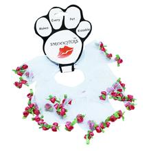 Rose Smoocher Pet Scrunchie - White with Bright Pink Roses