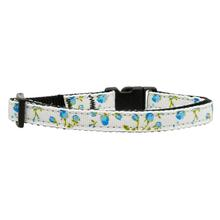 Roses Nylon Safety Cat Collar - Blue