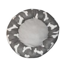 Round Grey Bone Print Pet Bed