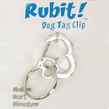 Rubit Dog Tag Clip - Silver Rhinestone Heart
