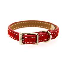 Saratoga Suede Leather Dog Collar by Auburn Leather - Red