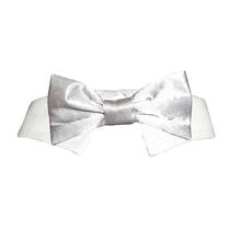 Satin Dog Bowtie Collar - Silver