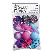 Savvy Tabby Leopard Mice, Solid Mice and Ball Cat Toy - 12 Pack