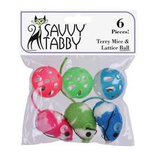 Savvy Tabby Terry Mice and Lattice Balls - 6 Pack