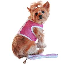 Seersucker Cool Mesh Dog Harness - Pink and Green Plaid