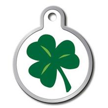 Shamrock Engraveable Pet I.D. Tag - Large Circle with a Raised Edge